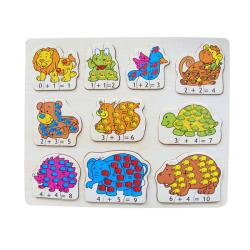 Puzzled Raised Puzzle Math Animals Wooden Puzzle Toy - Thumbnail 0