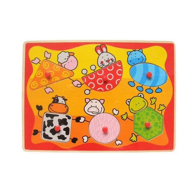Puzzled Raised Puzzle Farm Animals Shapes Wooden Puzzle Toy