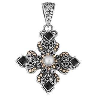 Handmade 18k Gold and Silver Onyx and Pearl 'Cawi' Pendant (6 mm)(Indonesia)