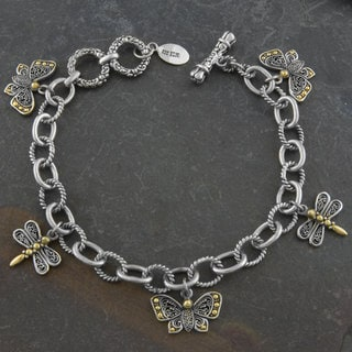 18k Yellow Gold and Silver 'Butterfly Dragonfly' Charm Bracelet (Indonesia)