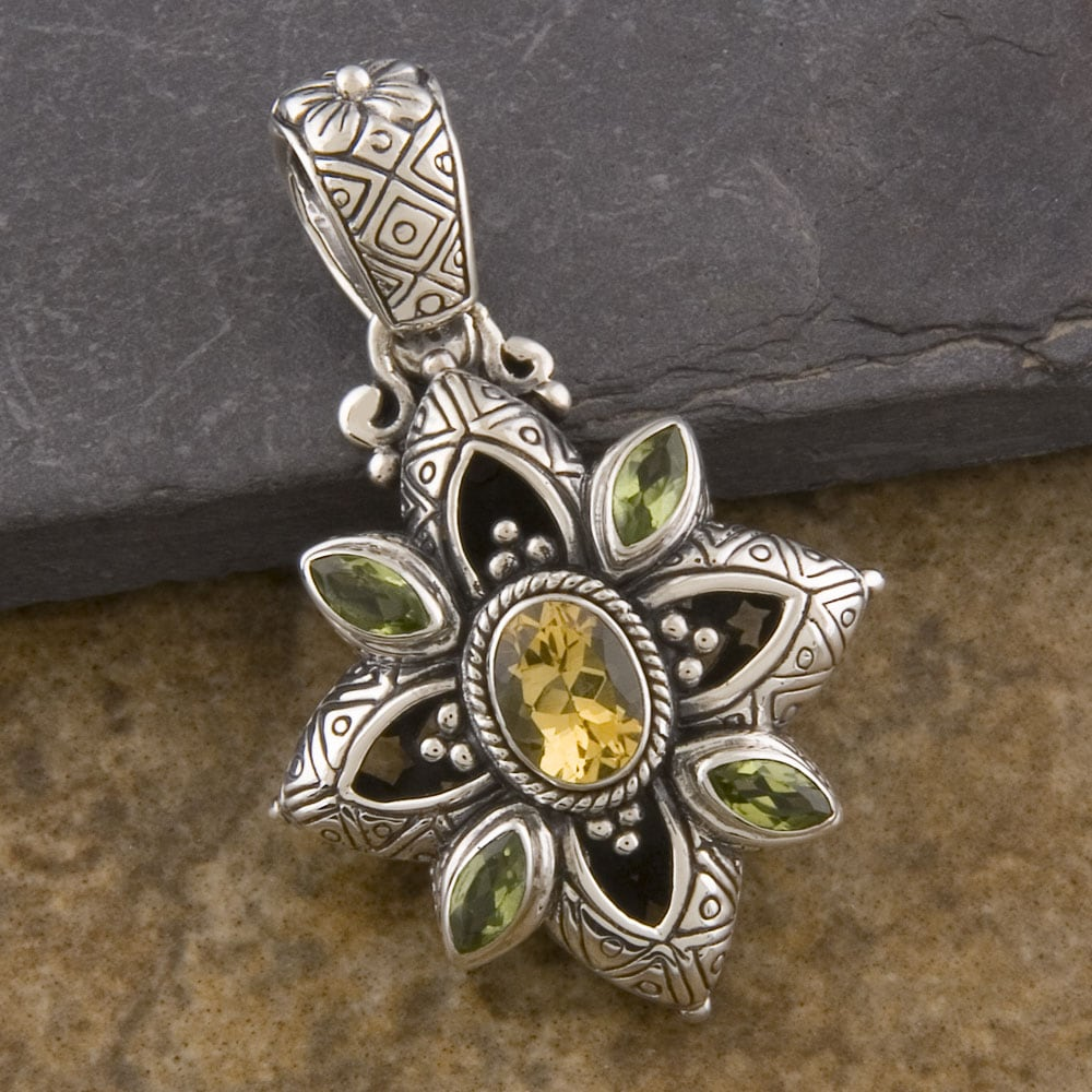 Sterling Silver Peridot and Citrine 'Cawi' Pendant (Indonesia)