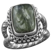 Handmade Sterling Silver Square Cabochon Serpentine 'Cawi' Ring (Indonesia)