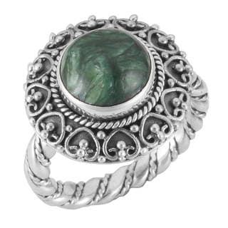 Handmade Sterling Silver Round Cabochon Serpentine 'Cawi' Ring (Indonesia)