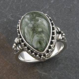 Handmade Sterling Silver Serpentine 'Cawi' Teardrop Ring (Indonesia)