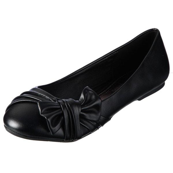 Lasonia Women's Black Pleat Detailing Bow Accent Flats
