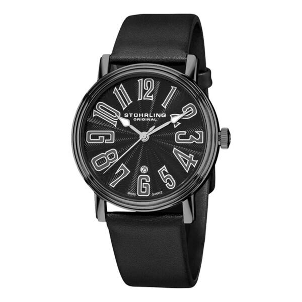 Shop Stuhrling Original Men s Black Roulette Swiss Quartz Date Watch ... a56704f23e7