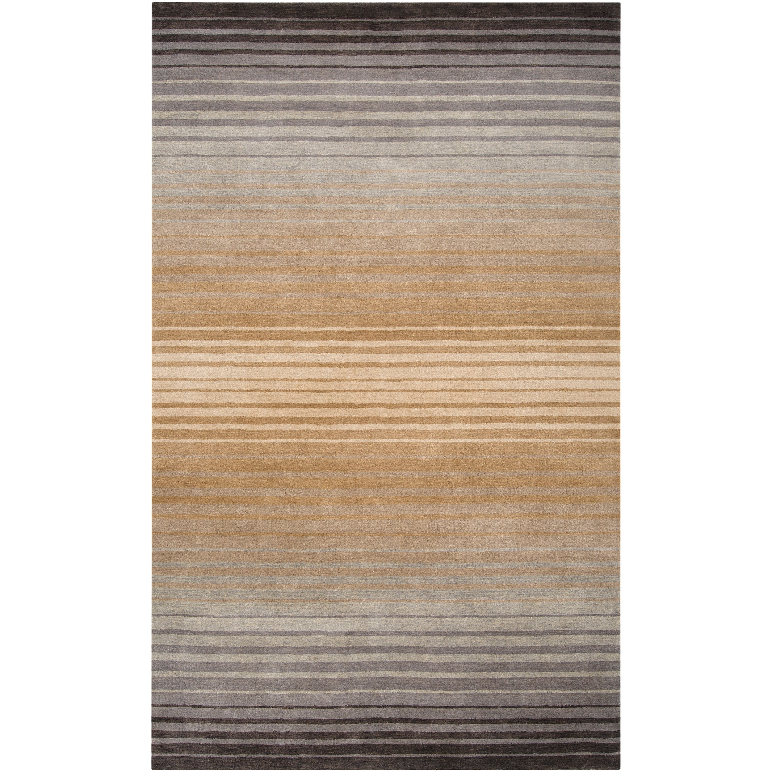 Hand-crafted Brown/Grey Ombre Casual Attica Wool Area Rug (8' x 11')