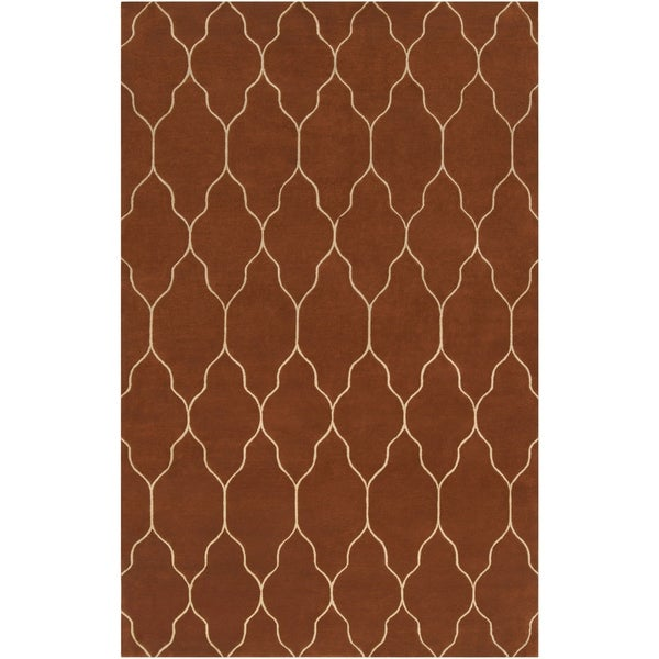 Hand-Knotted Katerini Red/Brown Transitional Geometric New Zealand Wool Area Rug - 5' x 8'