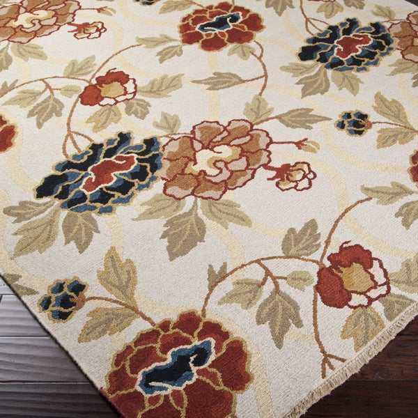 Hand-Knotted Veria Ivory/Multi-Colored Transitional Floral New Zealand Wool Area Rug (10' x 14')