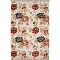Hand-Knotted Veria Ivory/Multi-Colored Transitional Floral New Zealand Wool Area Rug - 10' x 14'