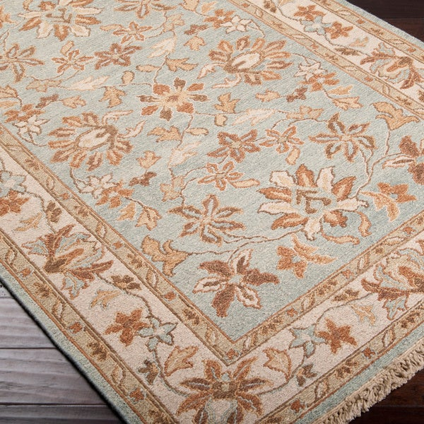 Hand-Knotted Kozani Blue/Tan Traditional Border New Zealand Wool Area Rug - 10' x 14'