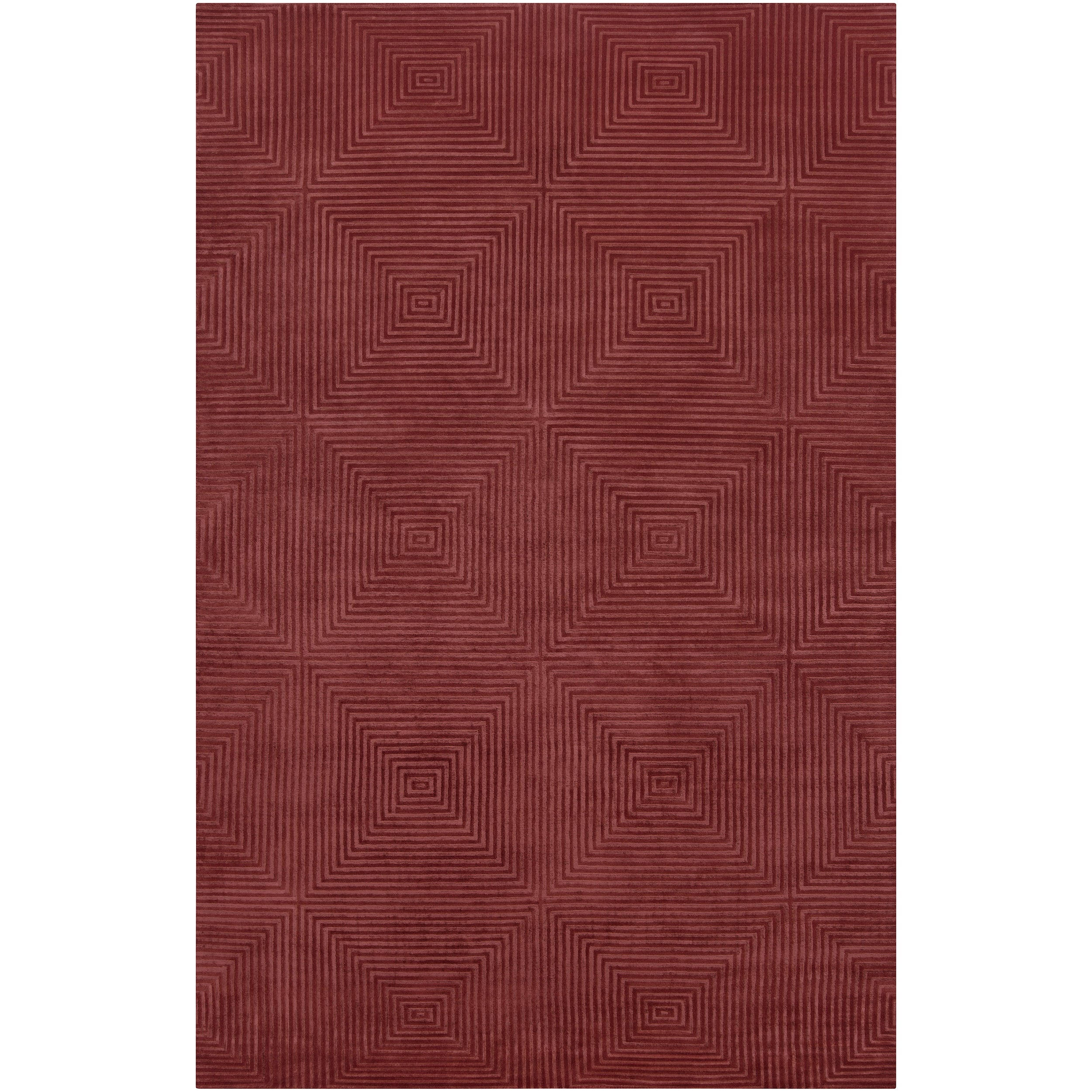 Hand-Knotted Serres Raspberry Geometric Wool Area Rug - 9' x 13'