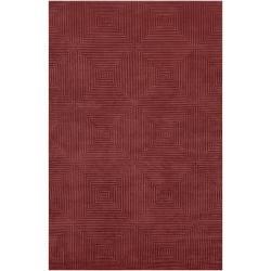 Hand-Knotted Serres Raspberry Geometric Wool Rug