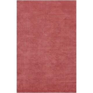 Hand-Knotted Serres Raspberry Geometric Wool Area Rug - 9 x 13 (9 x 13 - Raspberry)