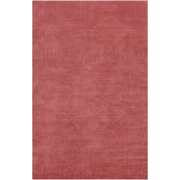 Hand-Knotted Serres Raspberry Geometric Wool Area Rug - 9' x 13'