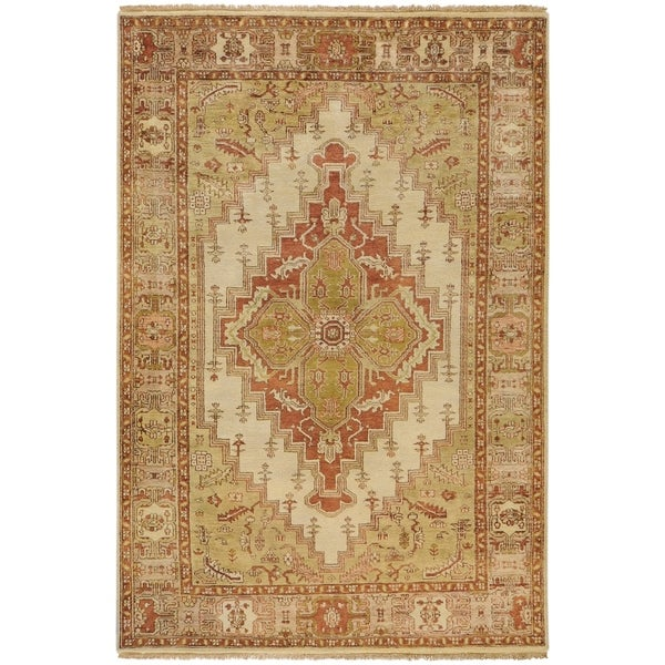 """Hand-Knotted Chania Cream/Red Traditional Border Wool Area Rug - 5'6"""" x 8'6"""""""
