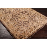 Hand-woven Granada Honey Traditional Border Hemp Area Rug (8' x 11')