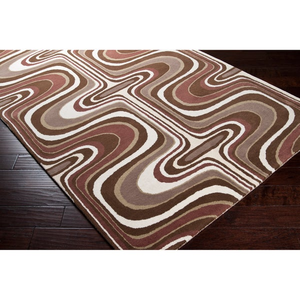 Tepper Jackson Hand-tufted Contemporary Brown Colored Swirl Dreamscape Wool Abstract Rug (5' x 8')