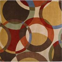Hand-tufted Contemporary Multi Colored Circles Badalona Wool Geometric Area Rug (9'9 Square) - 9'9