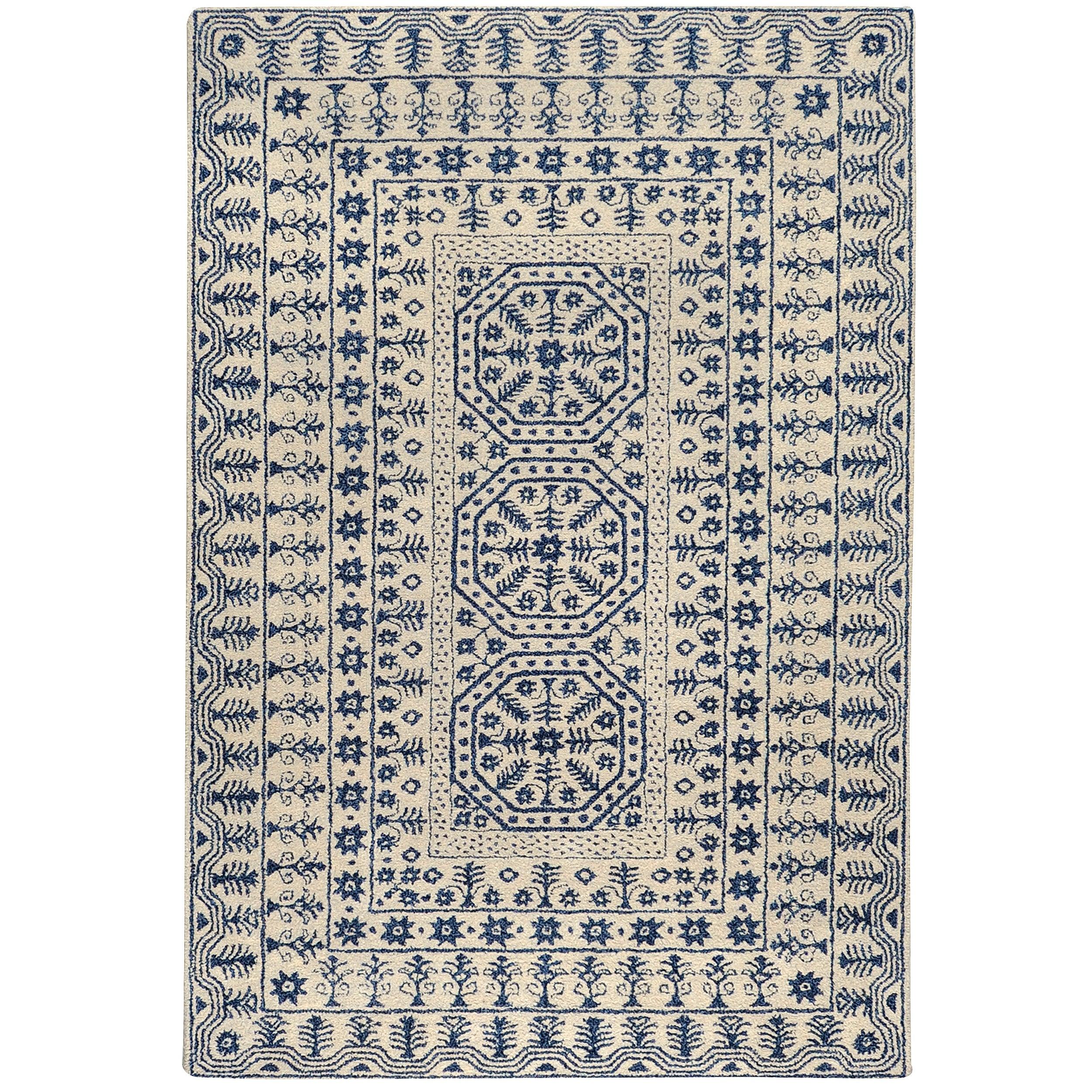 Hand-Tufted Palma Ivory/Navy Oriental Pattern Wool Rug (8' X 11')