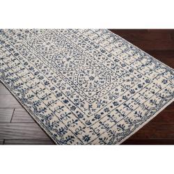 Hand-Tufted Palma Ivory/Navy Oriental Pattern Wool Rug (8' X 11') - Thumbnail 1
