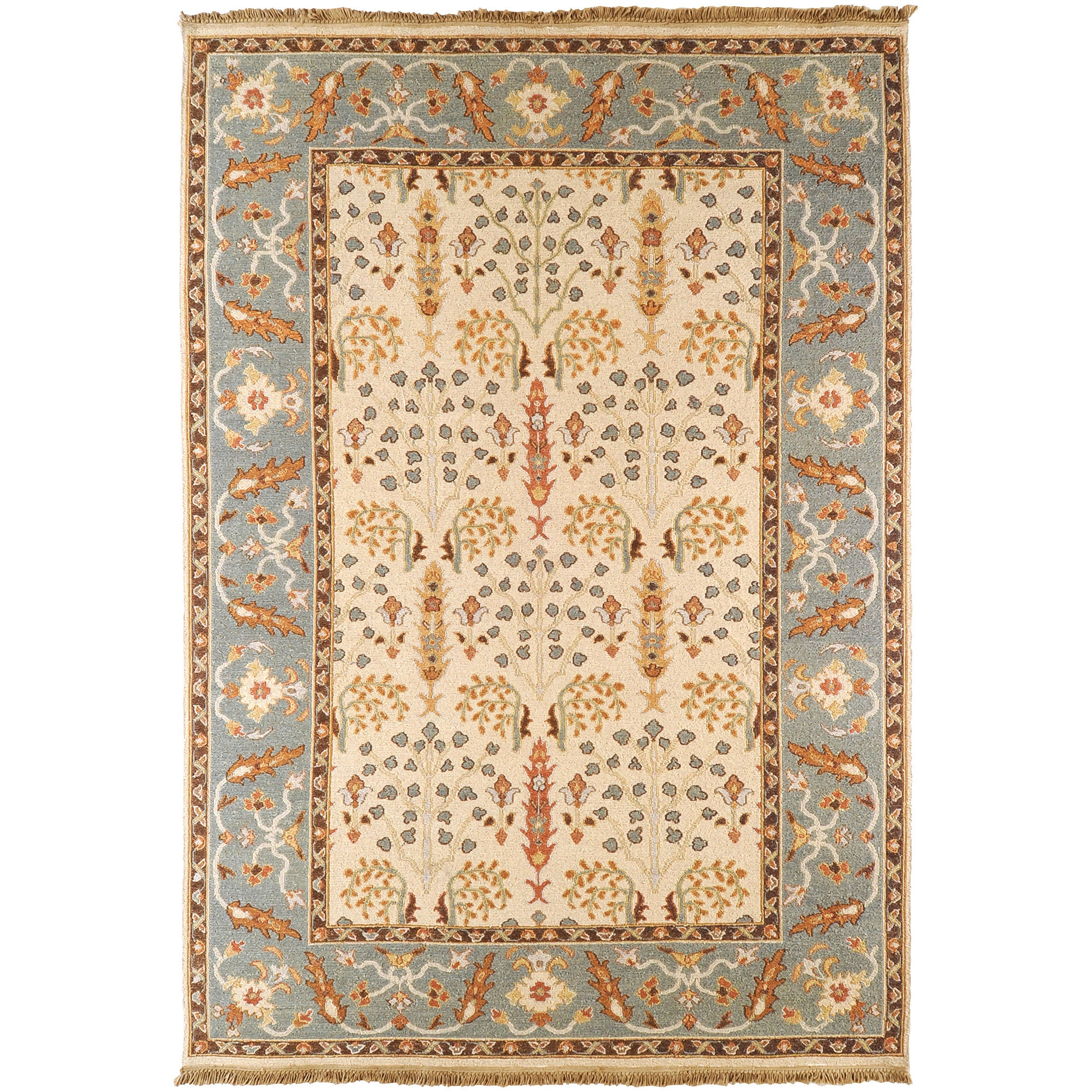 Hand-Knotted Buckhaven Beige/Multi-Colored Traditional Border New Zealand Wool Area Rug - 8' x 10'