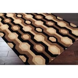 Hand-tufted Black Contemporary Alloa Wool Geometric Rug (12' X 15') - Thumbnail 1