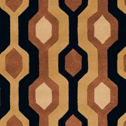 Hand-tufted Black Contemporary Alloa Wool Geometric Rug (12' X 15') - Thumbnail 2