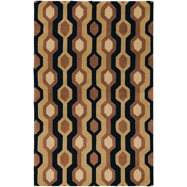 Hand-tufted Black Contemporary Alloa Wool Geometric Rug (12' X 15')