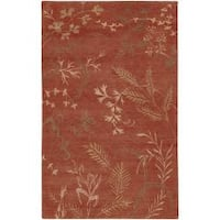 Hand-Knotted Renfrew Red/Tan Transitional Floral Semi-Worsted New Zealand Wool Area Rug (5' x 8')