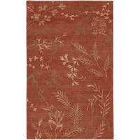 Hand-Knotted Renfrew Red/Tan Transitional Floral Semi-Worsted New Zealand Wool Area Rug - 5' x 8'