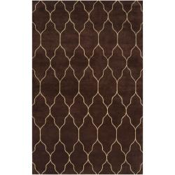 Hand-Knotted Elgin Brown/Ivory Transitional Geometric Wool Rug (5' X 8')