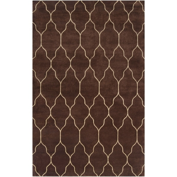Hand-Knotted Elgin Brown/Ivory Transitional Geometric Wool Area Rug - 5' x 8'