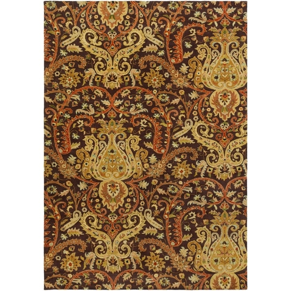 Hand-Tufted Polmont Brown/Gold Traditional Border Semi-Worsted New Zealand Wool Area Rug - 9' x 13'