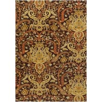 Hand-Tufted Polmont Brown/Gold Traditional Border Semi-Worsted New Zealand Wool Area Rug (9' x 13')