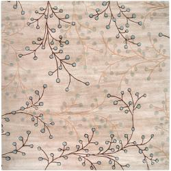 Hand-tufted Greenock Floral Wool Rug (9'9 Square)