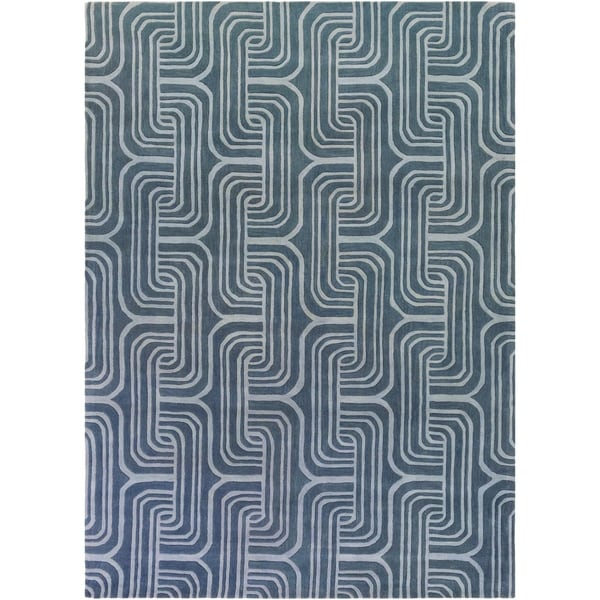 Hand-tufted Blue Contemporary Swirl Hamilton Wool Abstract Area Rug - 8' x 11'