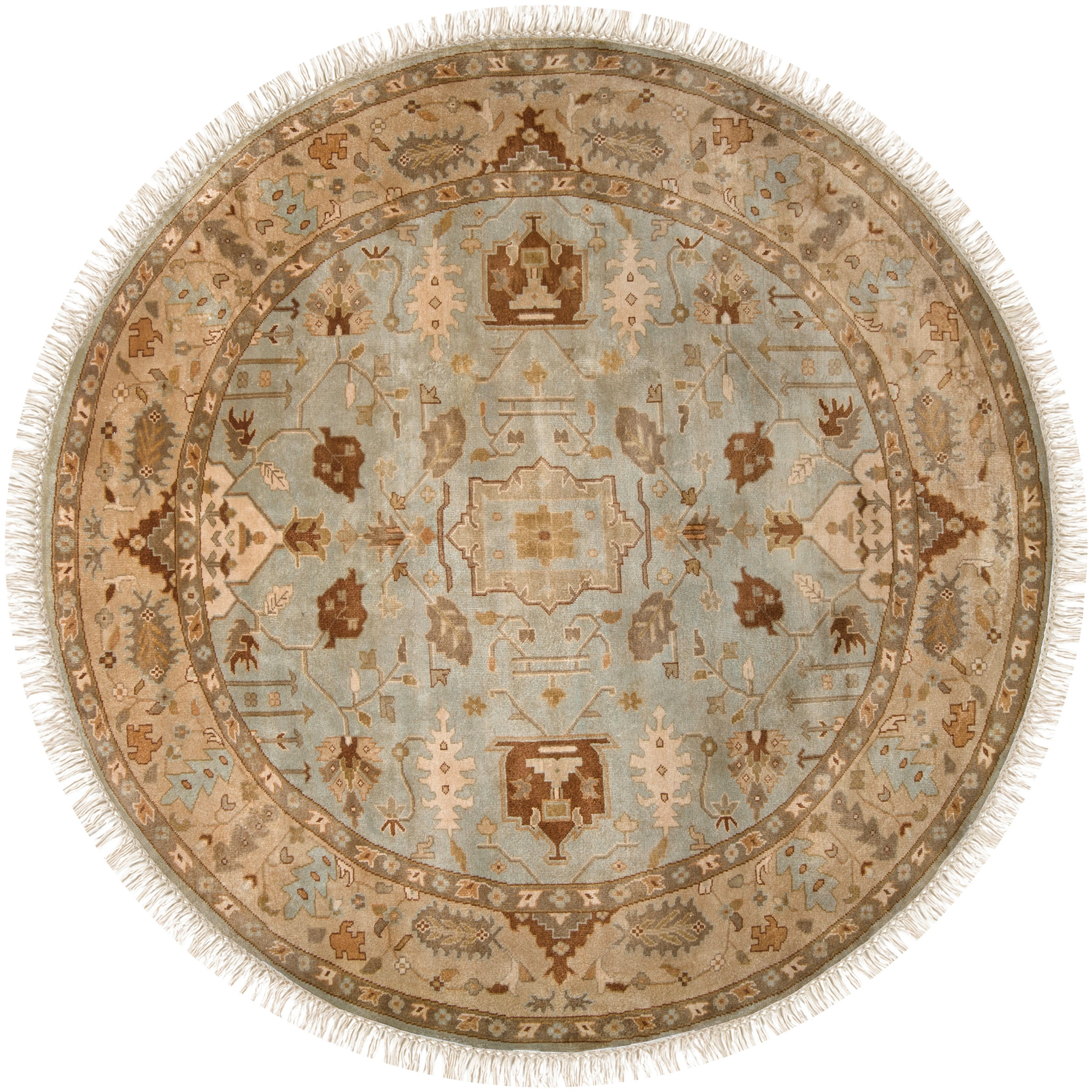 Hand-knotted Glasgow Semi-worsted New Zealand Wool Rug (8' Round) - Thumbnail 0
