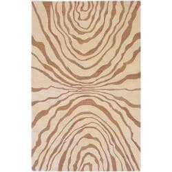 Hand-tufted Contemporary Beige Cranford New Zealand Wool Abstract Rug (9' x 13')