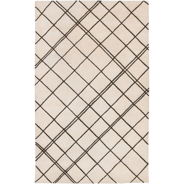 Carson Carrington Charlottenlund Hand-tufted Contemporary Beige New Zealand Wool Abstract Area Rug - 5' x 8'