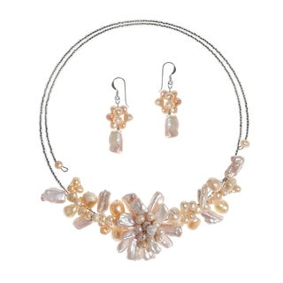 Handmade Silver Freshwater Pink Pearl Garland Jewelry Set (3-20 mm)(Thailand)