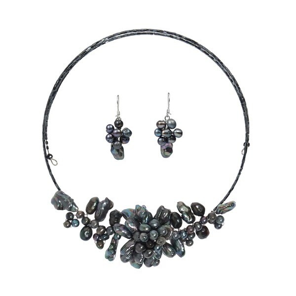 Handmade Silver Freshwater Black Pearl Garland Jewelry Set (3-20 mm)(Thailand)
