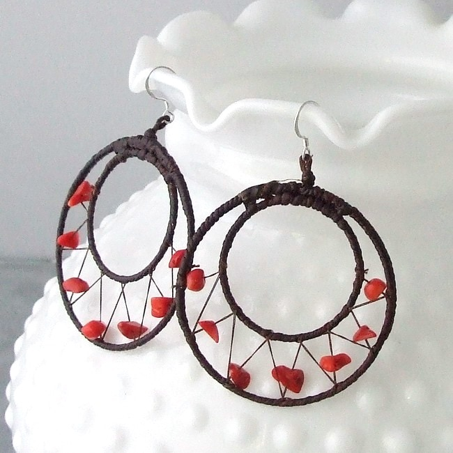 Handmade Sterling Silver Red Coral Mesh Hoop Earrings (Thailand)