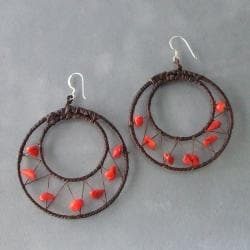 Handmade Sterling Silver Red Coral Mesh Hoop Earrings (Thailand) - Thumbnail 1