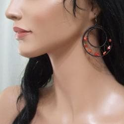 Handmade Sterling Silver Red Coral Mesh Hoop Earrings (Thailand) - Thumbnail 2