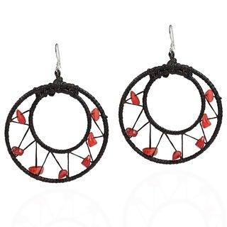 Handmade Sterling Silver Red Coral Mesh Hoop Earrings (Thailand)
