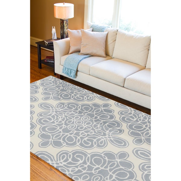 Hand-tufted Piscataway Geometric Pattern Wool Area Rug - 8' X 11'