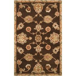 Hand-Tufted Teaneck Brown/Gold Traditional Floral Wool Rug (8' X 11')
