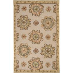 Hand-hooked Beige Floral Indoor/Outdoor Medallion Rug (5' x 8')