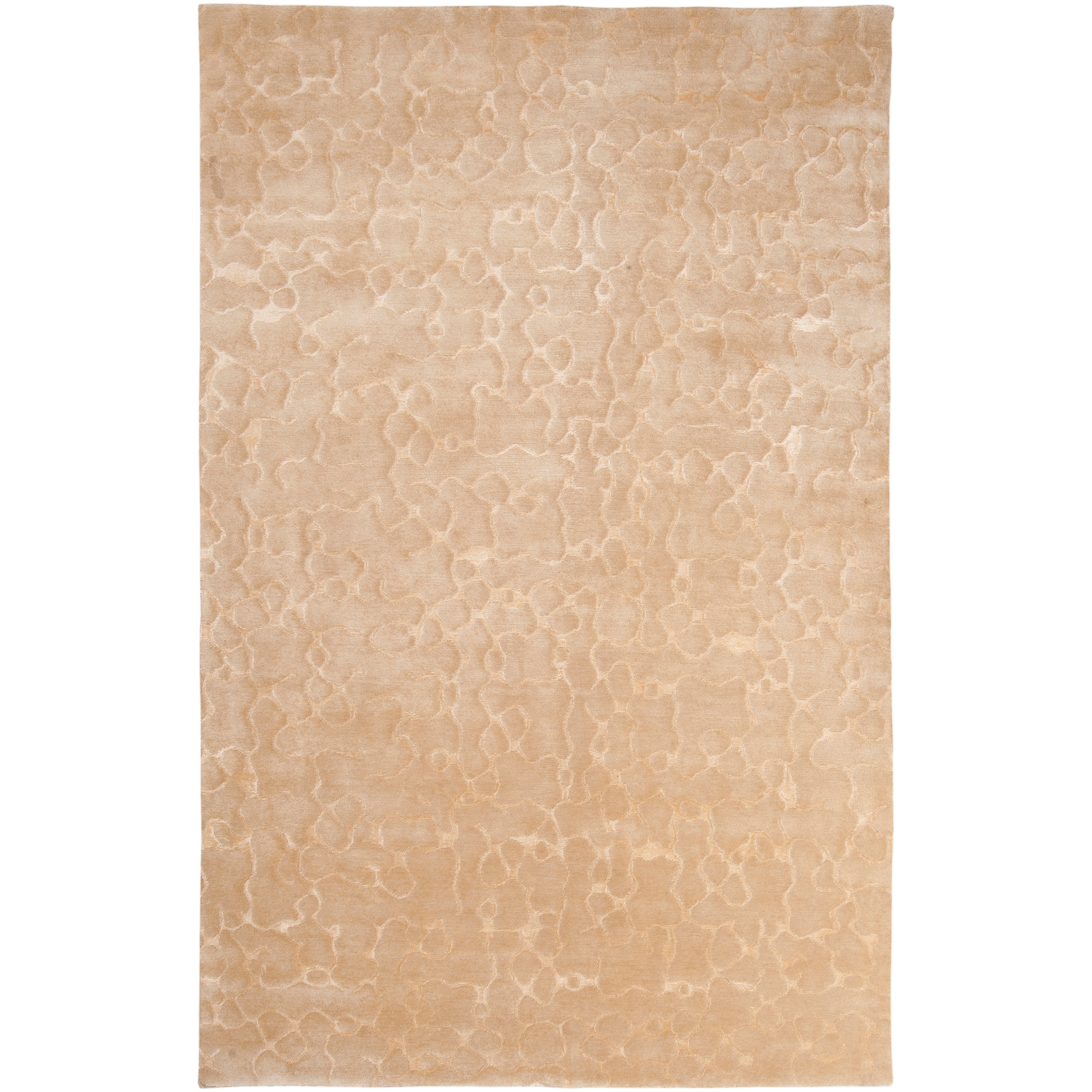 Hand Knotted Beige Abstract Design Wool Rug (9' x 13')